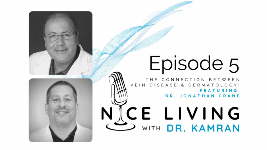 Image featuring logo for the Nice Living with Dr. Kamran podcast and photos of Dr. Kamran Goudarzi and Dr. Jonathan Crane
